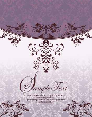 Purple Floral Bridal Shower Invitation Vector