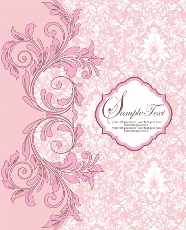 pink swirl: Invitation vintage card with floral elements