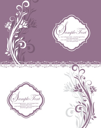 greeting card background: purple and white floral invitation card with place for text Illustration