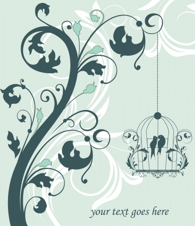 blue swirly invitation card with cage Vector