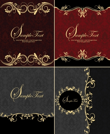 set of four damask invitation card Vector