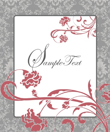 gray: damask flower background with place for text