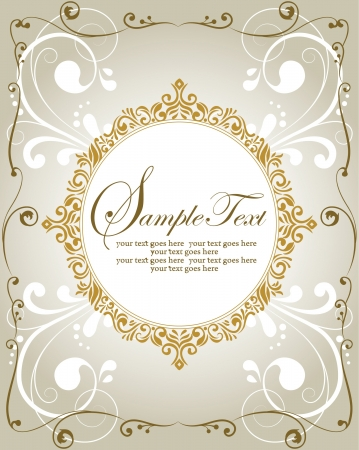 Invitation vintage card with floral ornament royalty free cliparts template frame design for greeting card or invitation vector stopboris