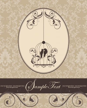 brown vintage invitation card with birdcage Vector