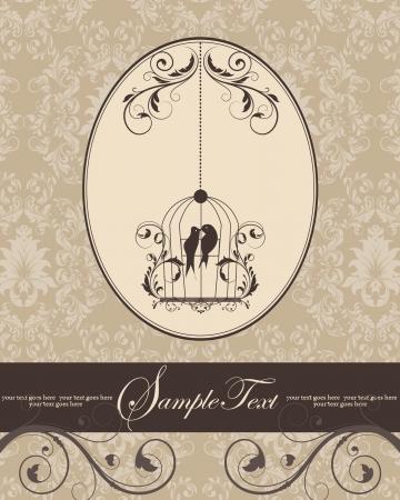 brown vintage invitation card with birdcage Vector