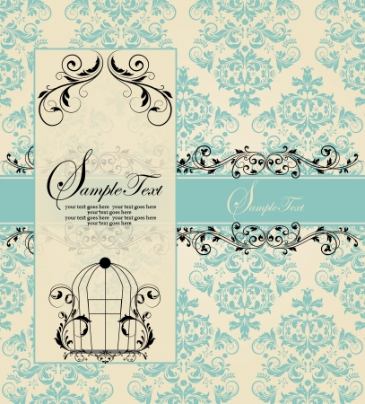 retro: vintage blue damask invitation card Illustration