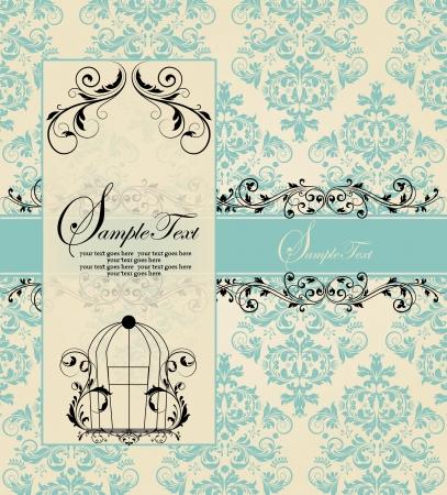 blue damask: vintage blue damask invitation card Illustration