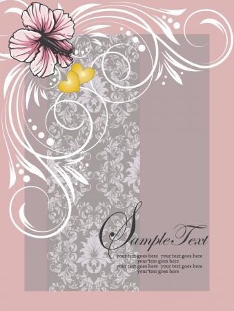 핑크 문양의 꽃 초대 카드