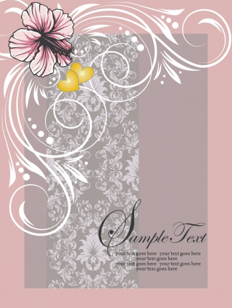 pink swirly floral invitation card Vector