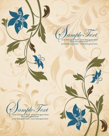 Blue Flowers Vintage Wedding Invitation Card Çizim