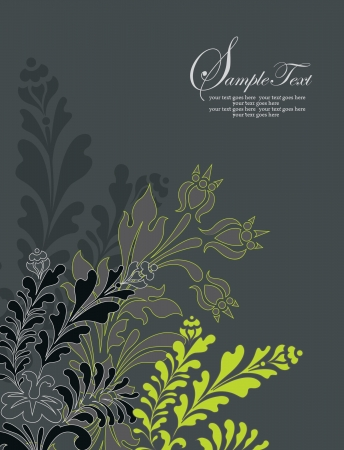 vintage style invitation card with flower Vector