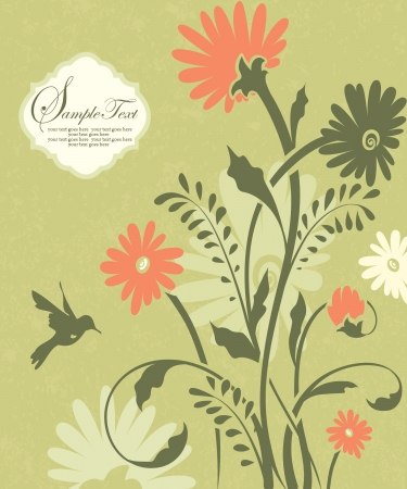 green floral invitation card with place for text Vector