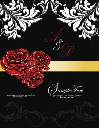 red rose: wedding roses invitation card