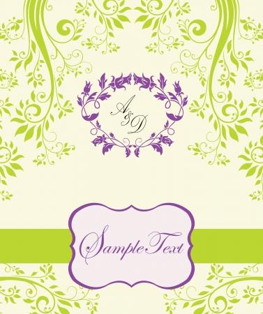 verde y morado: p�rpura y verde invitaci�n floral abstracto