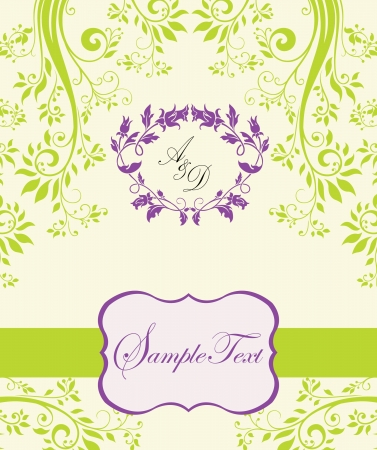 green background: purple and green abstract floral invitation Illustration