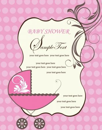 girl shower: Anuncio Baby Shower Vectores