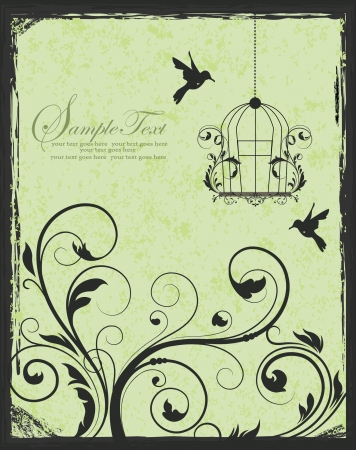 green and black birdcage invitation Vector