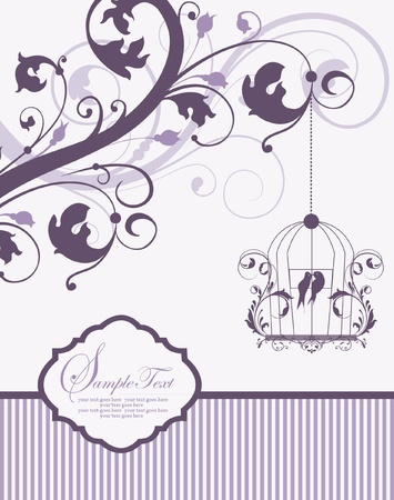 purple swirly invitation card with cage Stock Vector - 19006332