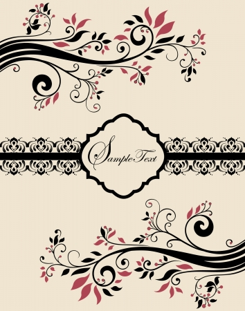 abstract flowers: Invitation vintage card with floral ornament