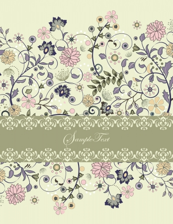 invitation card with floral background and place for text