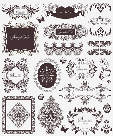 SET OF VECTOR FLORAL ELEMENTS Vector