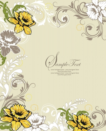 Elegant Floral Invitation card Иллюстрация