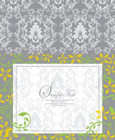 damask floral card Vector