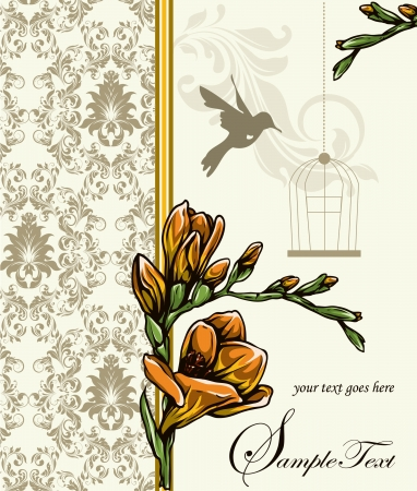 label frame: damask wedding invitation ornate with flowers