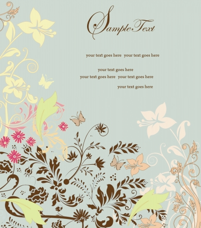 Wedding card or invitation with abstract floral background Vector
