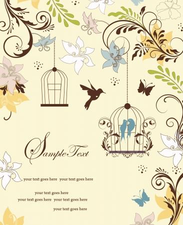 ビンテージ鳥かごの結婚式の招待カード