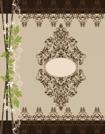 kahverengi: brown floral ornate vintage frame