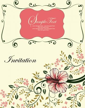 Floral uitnodigingskaart met boomtak