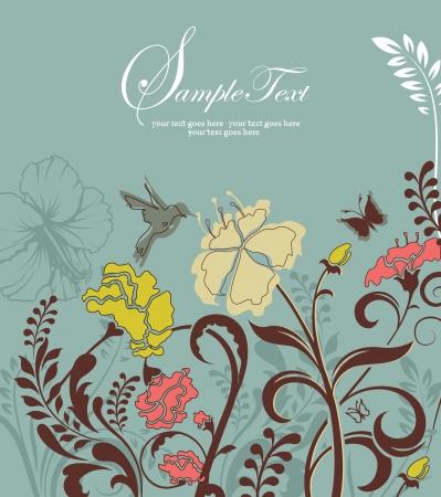 elegant floral invitation or announcement card Illusztráció