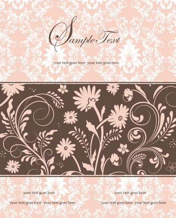 pink and brown floral invitation card