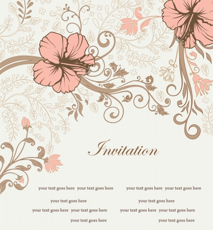 floral invitation card with tree branch