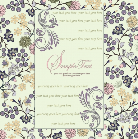 indian summer: invitation card with floral background