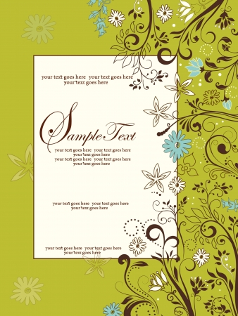 response: Wedding card or invitation with abstract floral background