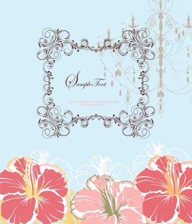 Invitation vintage card with floral ornament and chandelier Vector