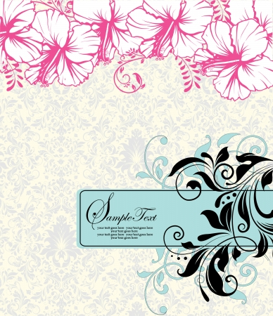 Invitation or wedding card with pink floral background