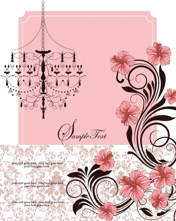 floral invitation card with pink flowers and chandelier Vector
