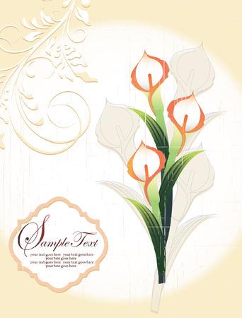 Calla lily, vintage wedding invitation card Illustration