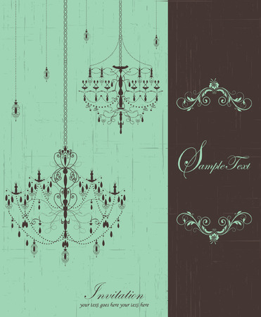 wedding invitation card with chandelier Vector