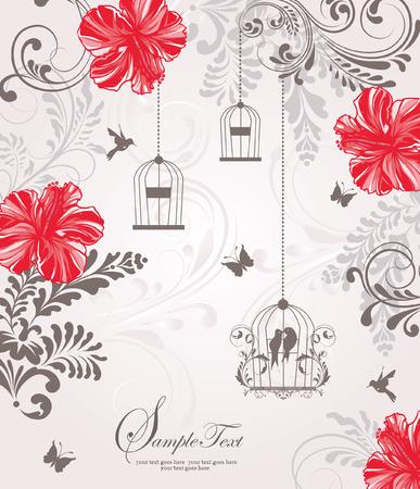 oiseau dessin: cru mariage carte d'invitation de cage à oiseaux