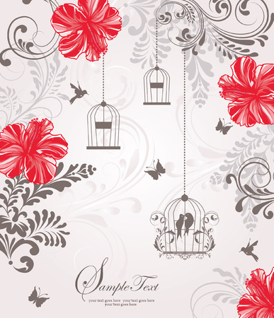 pajaro dibujo: tarjeta de invitaci�n de la boda del birdcage de la vendimia