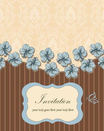 brown: vintage brown invitation card with blue flowers