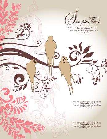 Love Birds Sitting In a Tree Wedding Invitation Vector