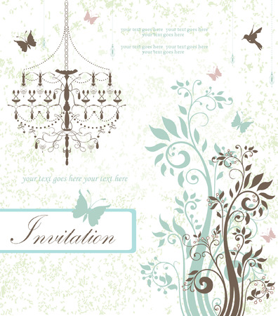 floral invitation card with flowers,birds and chandelier Vector