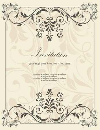design: vintage invitation card with abstract floral background