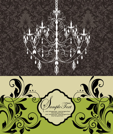 vintage wedding invitation card with chandelier