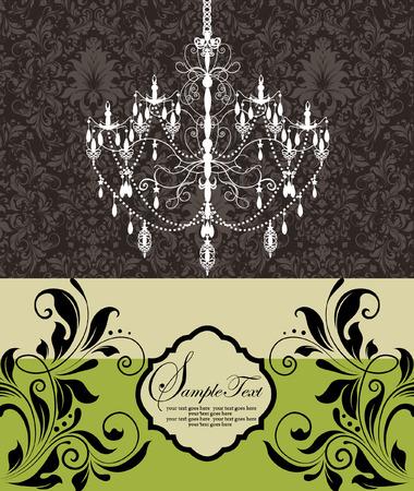 chandelier: vintage wedding invitation card with chandelier